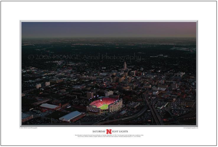Fall '06 Night Aerial Photo of Memorial Stadium